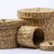 wicker containers for storage compartment